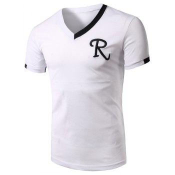 V-Neck Embroidery Letter Color Block Splicing Short Sleeve Men's T-Shirt