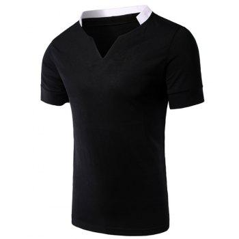 Modish V-Neck Color Block Splicing Short Sleeve Men's T-Shirt