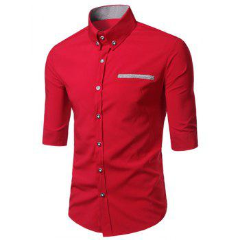 Modish Turn-Down Collar Color Block Purfled Pocket Half Sleeve Men's Button-Down Shirt