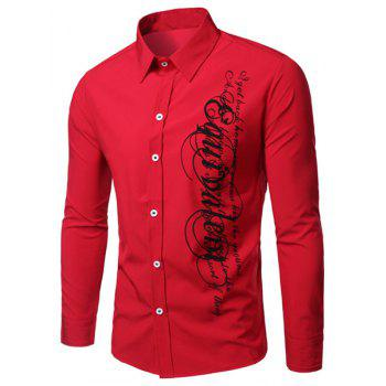 Elegant Turn-Down Collar Letters Printing Long Sleeve Men's Shirt