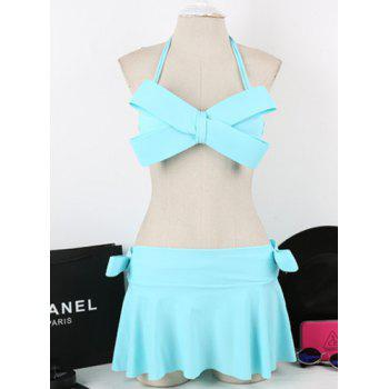 Buy Sexy Bowknot Decorated Candy Color Bikini Women LAKE BLUE