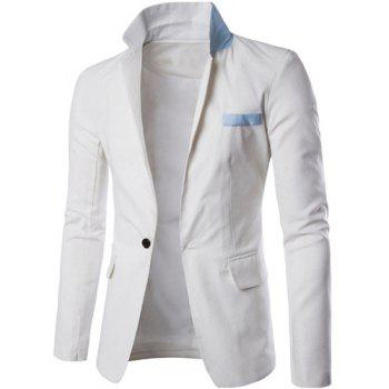 One Button Single-Breasted Color Splicing Lapel Long Sleeves Men's Linen Blended Blazer