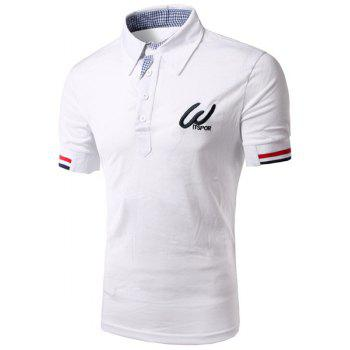Modish Turn-Down Collar Color Block Rib Splicing Short Sleeve Men's Polo Shirt
