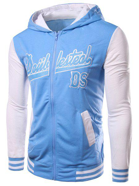 Color Block Number Printed Embroidery Zipper Hooded Coat For Men - BLUE XL