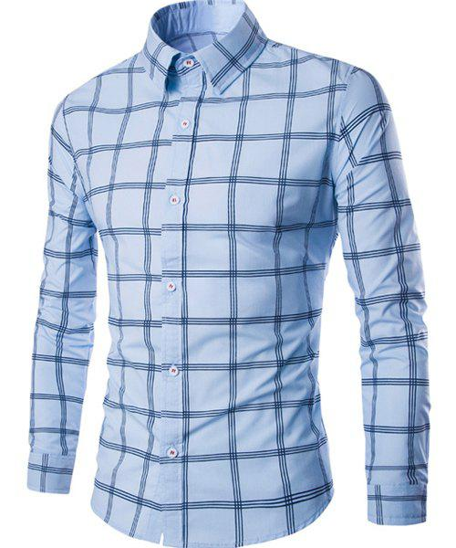 Hot Sale Turn-down Collar Exquisite Plaid Print Men's Long Sleeves Shirt - LIGHT BLUE XL
