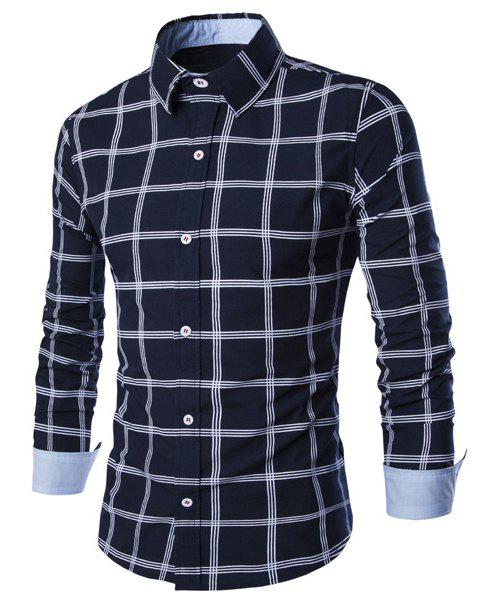 Hot Sale Turn-down Collar Exquisite Plaid Print Men's Long Sleeves Shirt - PURPLISH BLUE L