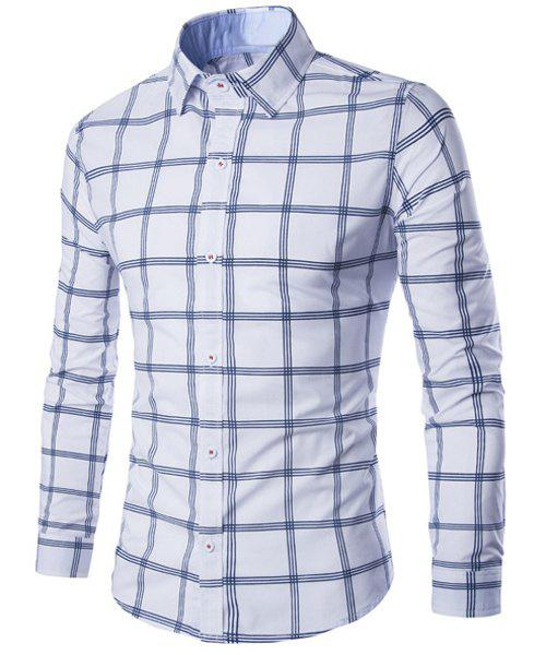 Hot Sale Turn-down Collar Exquisite Plaid Print Men's Long Sleeves Shirt - WHITE M