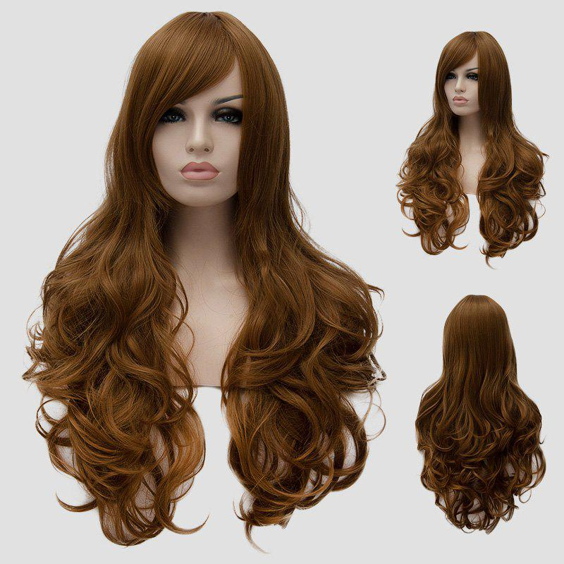 Fluffy Wavy Side Bang Synthetic Stunning Golden Brown Long Universal Cosplay Wig For Women - GOLD BROWN