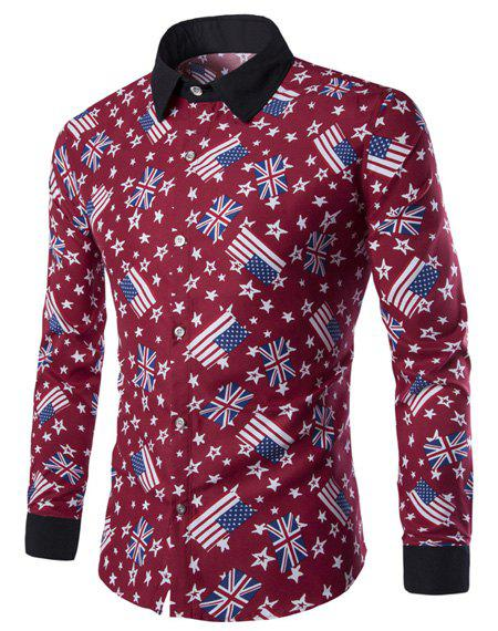 Slimming Shirt Collar American Flag and Star Print Long Sleeves Men's Hit Color Shirt - RED M