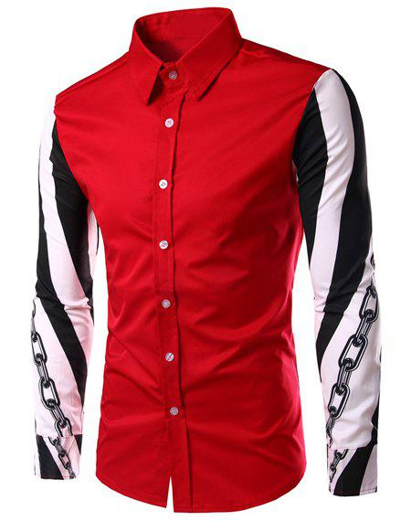 Color Block Chain Print Slimming Shirt Collar Long Sleeves Men's Shirt - RED XL