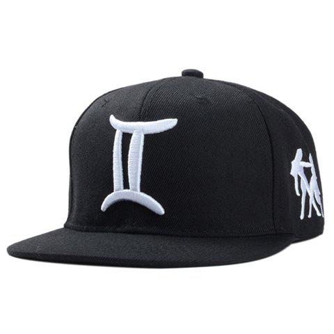 Stylish Gemini Logo Shape Embroidery Black Baseball Cap For Men - BLACK