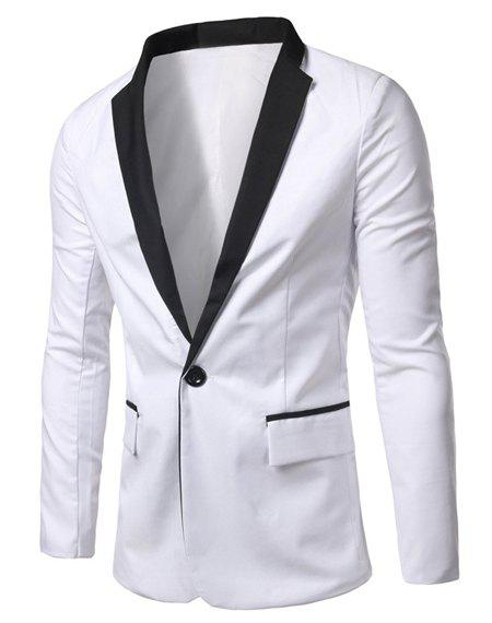 Casual Long Sleeves Turn Down Collar Single Button Blazer For Men - WHITE M