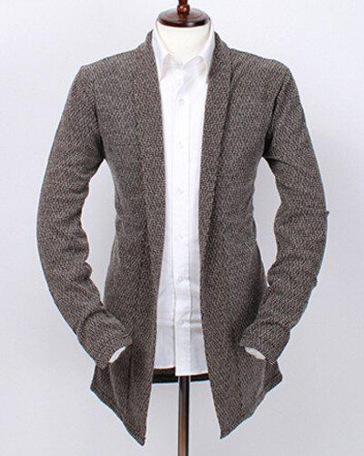 Loose Fit Turn-down Collar Geometric Pattern Long Sleeves Men's Solid Color Cardigan - COFFEE 2XL