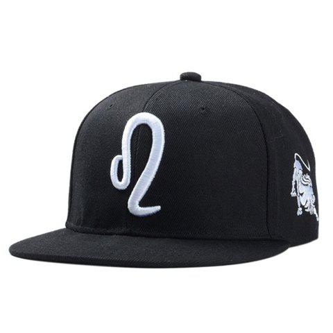 Stylish Zodiac Leo Logo Shape Embroidery Men's Black Baseball Cap - BLACK