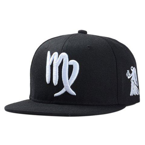 Stylish Zodiac Virgo Logo Shape Embroidery Men's Black Baseball Cap - BLACK
