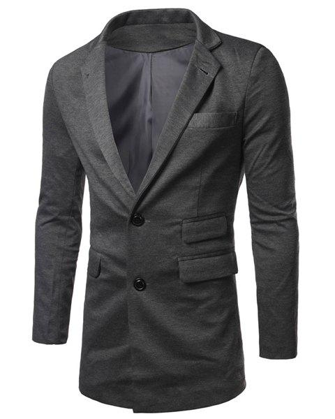 Casual Turn Down Collar Solid Color Long Sleeves Single Breasted Blazer For Men - GRAY 2XL
