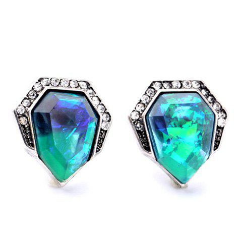 Pair of Delicate Polygon Faux Crystal Rhinestone Earrings For Women