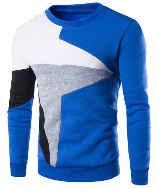 Color Lump Splicing Round Neck Long Sleeves Men's Casual Sweatshirt - BLUE L