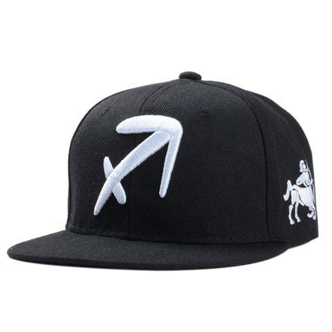 Stylish Zodiac Sagittarius Logo Shape Embroidery Black Baseball Cap For Men - BLACK