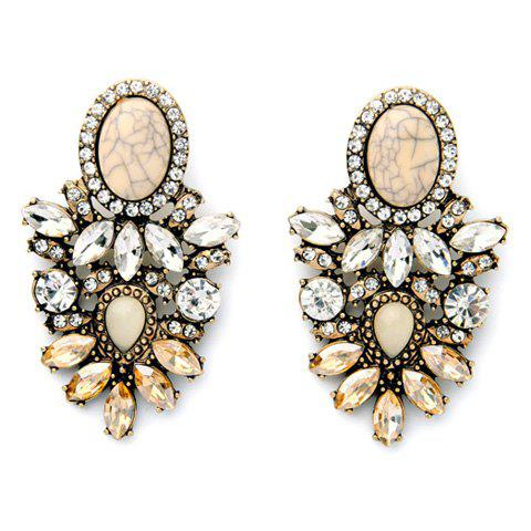 Pair of Rhinestone Faux Opal Earrings - COLORMIX