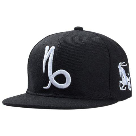 Stylish Zodiac Capricorn Logo Shape Embroidery Men's Black Baseball Cap - BLACK