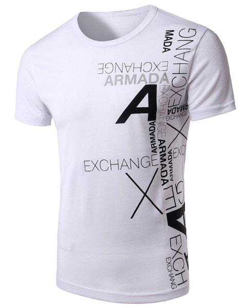 Stylish Round Neck Letters Printing Short Sleeve Men's T-Shirt
