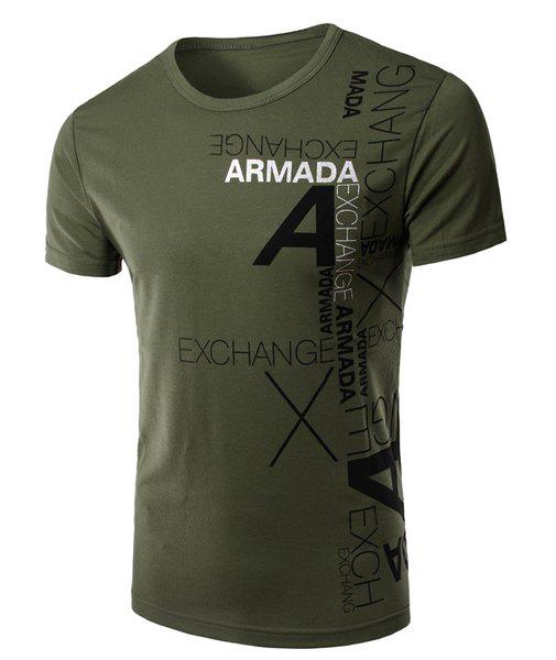 Stylish Round Neck Letters Printing Short Sleeve Men's T-Shirt - GREEN XL