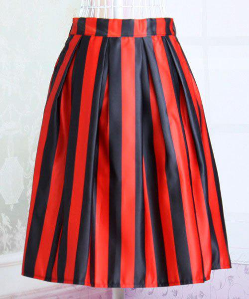 Stylish Striped Hit Color Elastic Waist Women's Skirt - RED/BLACK ONE SIZE(FIT SIZE XS TO M)