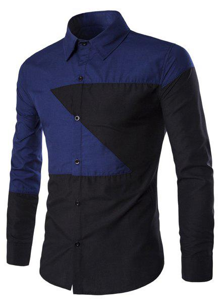 Casual Shirt Collar Color Lump Splicing Slimming Men's Long Sleeves Shirt - BLUE/BLACK XL