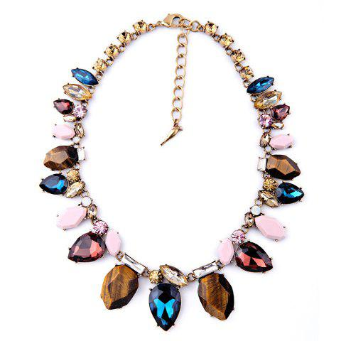 Exquisite Colorful Faux Crystal Stone Decorated Necklace For Women - COLORMIX