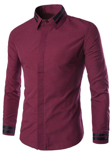 Color Block Stripes Spliced Plain Front Shirt Collar Long Sleeves Men's Slim Fit Shirt - WINE RED M