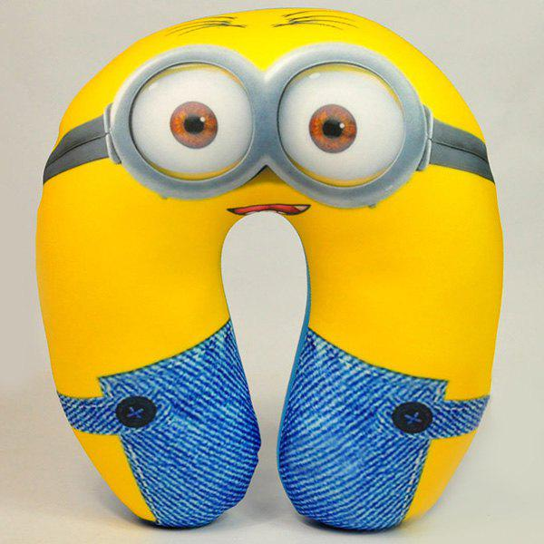 Cute Portable Cartoon Minions Nano Particle U-Shape Neck Pillow - YELLOW