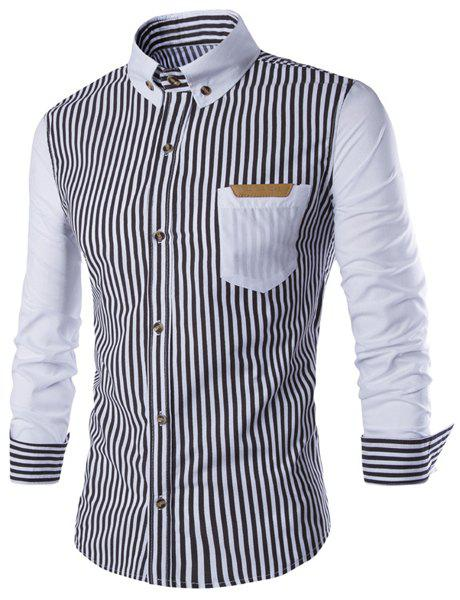 PU Leather Spliced One Pocket Slimming Shirt Collar Long Sleeves Men's Striped Shirt