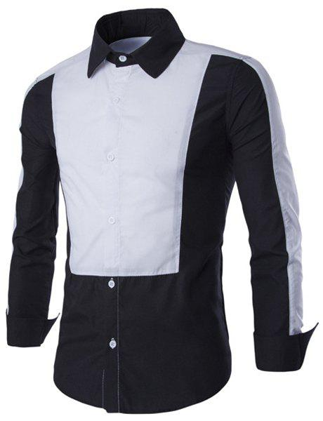 Classic Color Splicing Shirt Collar Long Sleeves Men's Slimming Shirt - BLACK M