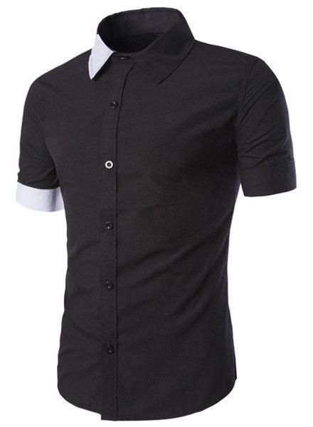 Classic Color Block Spliced Slimming Shirt Collar Short Sleeves Men's Shirt - BLACK M