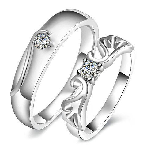 Pair of Hollow Out Rhinestone Ring For Lovers - SILVER ONE-SIZE