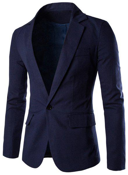 One Button Single-Breasted Lapel Long Sleeves Men's Solid Color Blazer - CADETBLUE L