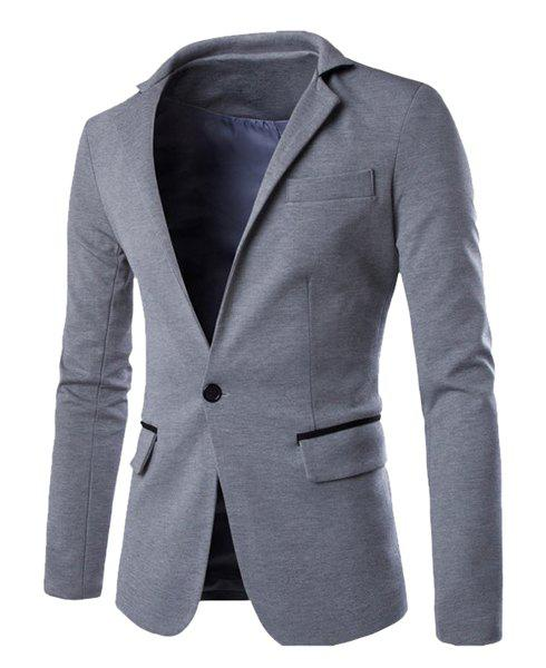 Hit Color Spliced Back Slit Stand Collar Long Sleeves Men's Single-Breasted Blazer 171542502