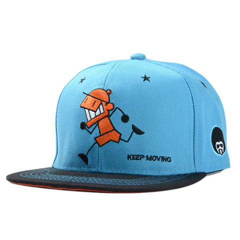 Stylish Cartoon Boy and Five-Pointed Star Embroidery Men's Baseball Cap - BLUE