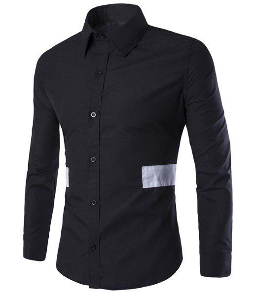 Color Block Wide Stripes Spliced Shirt Collar Long Sleeves Slimming Shirt For Men - BLACK M