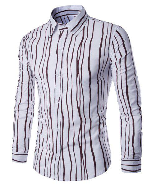 Hit Color Irregular Stripes Slimming Shirt Collar Long Sleeves Shirt For Men - COFFEE L