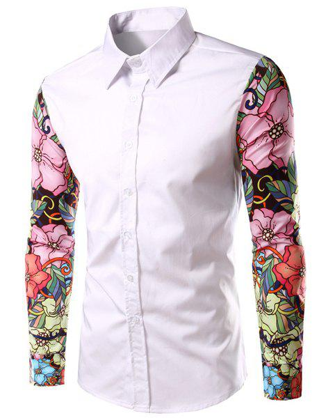 Floral Long Sleeves Spliced Slimming Color Block Men's Turn-down Collar Shirt - WHITE M