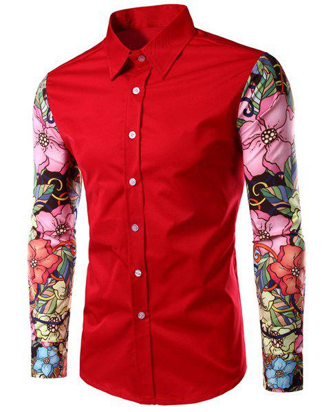 Floral Long Sleeves Spliced Slimming Color Block Men's Turn-down Collar Shirt - RED M