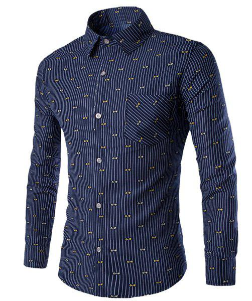 One Pocket Bow Tie Print Slimming Shirt Collar Long Sleeves Striped Shirt For Men