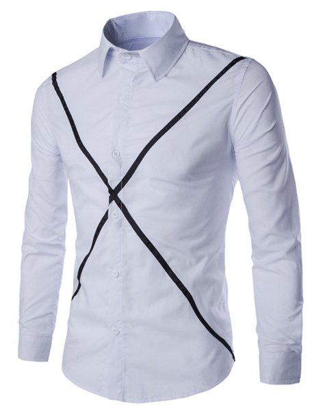 Casual Shirt Collar Color Block X Pattern Long Sleeves Slimming Shirt For Men - WHITE M