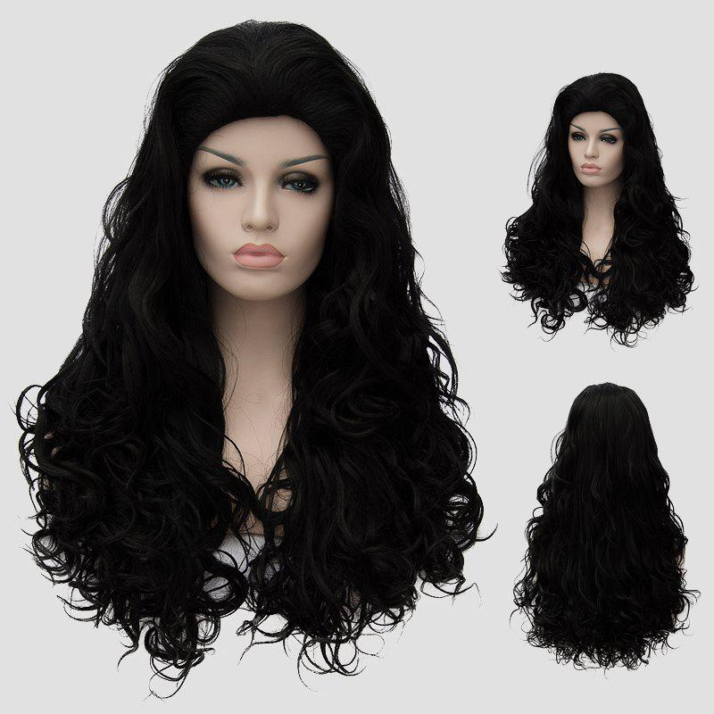 Bouffant Curly Black Synthetic Attractive Long Capless Cosplay Wig For Women - BLACK