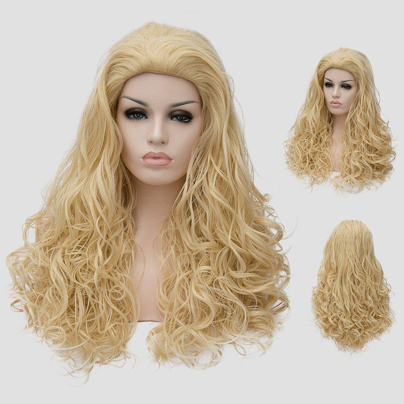 Shaggy Curly Light Blonde Synthetic Stunning Long Women's Capless Cosplay Wig - LIGHT GOLD