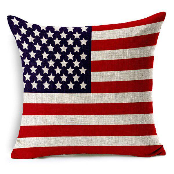 High Quality Square Shape America Flag Printed Pattern Pillow Case(Without Pillow Inner) - COLORMIX