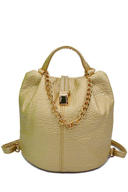 Trendy Chains and PU Leather Design Satchel For WomenBags<br><br><br>Color: GOLDEN