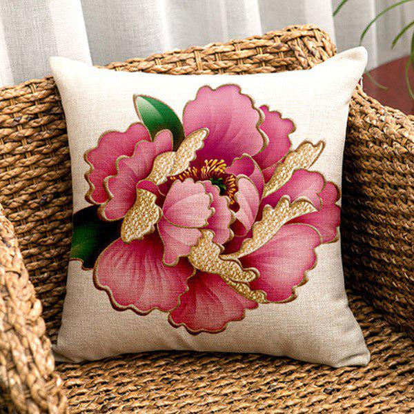 High Quality Square Shape Colorful Peony Pattern Pillow Case(Without Pillow Inner)